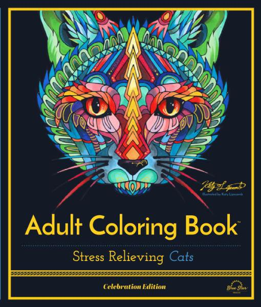 Adult Coloring Book – Stress Relieving Cats, Celebration Edition