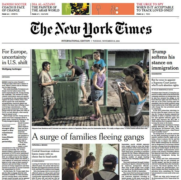 International New York Times – 15 November 2016